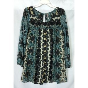 Free People Green Floral Tunic Top Size XS